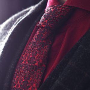 Čierno Červená Kvetinová Floral Kravata
