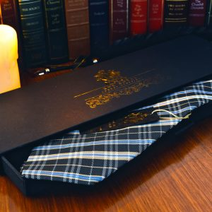 Čierno Žlto Modrá Kockovaná Hodvábna Kravata