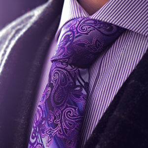 Fialová kravata, floral kvetinová paisley