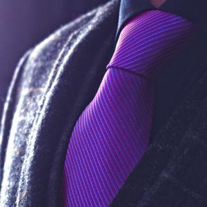 Fialová Hodvábna pásikavá kravata