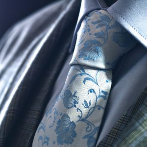 Nebesky modrá hodvábna kvetinová floral kravata
