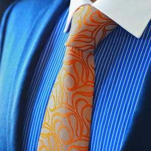 Oranžová Vzorovaná Kravata
