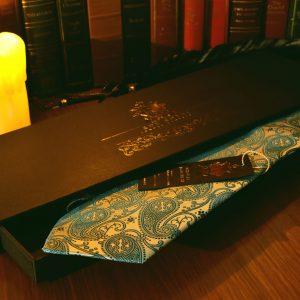 Tyrkysová kravata, paisley, hodvábna