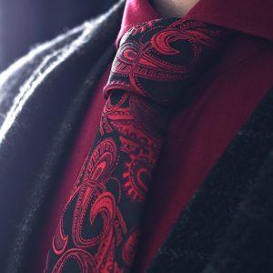 Červeno Čierna Paisley Kravata
