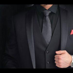 Formálna Čierna Paisley Kravata