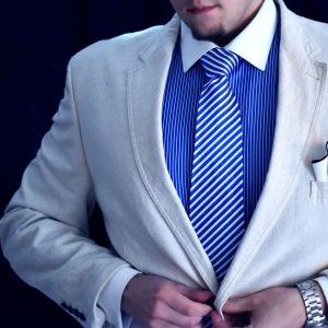 Hodvábna Kravata, Pásikavá, Modro Biela