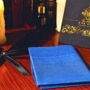 Modrá náprsná vreckovka do saka