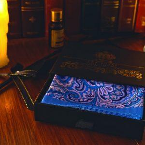 Modrá Paisley Hodvábna Náprsná Vreckovka do Saka