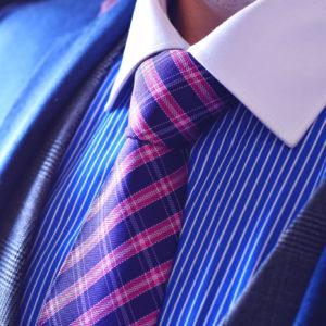 Hodvabna kravata, Pásik, Modro-Ružová