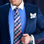 Modro Ružová Kockovaná Kravata