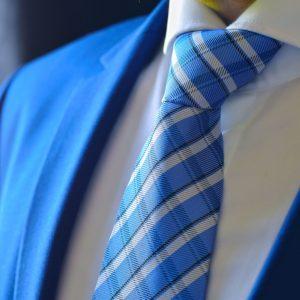Nebesky Modrá Kockovaná Kravata