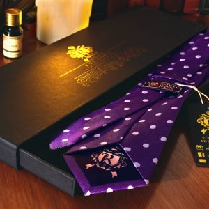 Hodvábna Kravata, Pure Luxury Collection, Bodkovaná, Fialová
