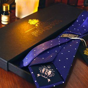 Hodvábna Kravata, Pure Luxury Collection, Bodkovaná, Modrá