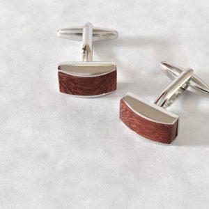 Strieborné manžetové gombíky z palisandrového dreva