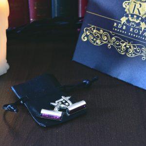 Luxusné vínovo fialové manžetové gombíky RDB Royal z chirurgickej ocele