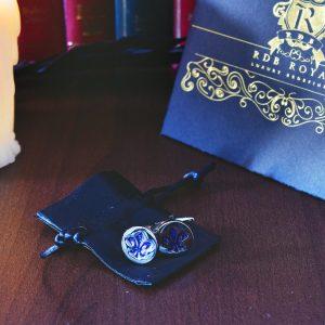 Luxusné modré manžetové gombíky v luxusnom modrom vzore Fleur de Lis