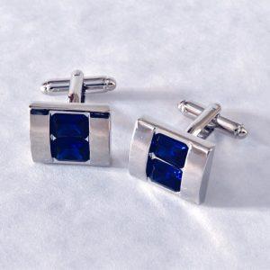 Strieborné manžetové gombíky z chirurgickej ocele s modrými osadenými kameňmi