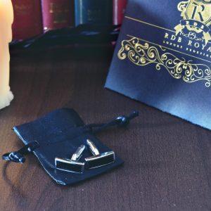 Strieborno čierne manžetové gombíky z chirurgickej ocele RDB Royal
