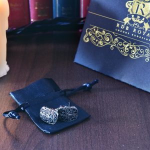 Ornamentálne čierno strieborné manžetové gombíky z chirurgickej ocele RDB Royal