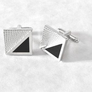 Elegantné luxusné manžetové gombíky RDB Royal čierno striebornej farby z chirurgickej ocele