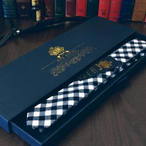 Luxusná prémiová kockovaná čiernobiela kravata z jemnej bavlny v slim štýle