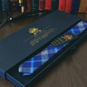 Farebná bavlnená elegantná slim kockovaná kravata