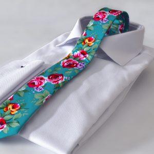 Luxusná bavlnená slim kravata v modrom kvetinovom vzore