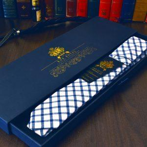 Kockovaná luxusná prémiová bavlnená kravata RDB Royal bielo modrej farby