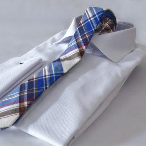 SLIM bavlnená modro červená kockovaná luxusná kravata RDB Royal v darčekovom prestížnom balení