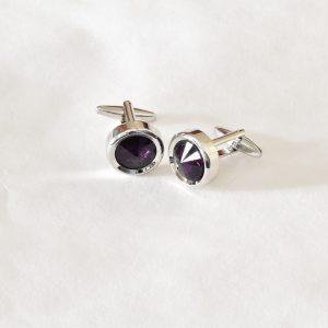 Strieborné fialové manžetové gombíky swarovski crystal