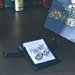 Luxusné kráľovské manžetové gombíky swarovski v čírom prevedení, strieborné