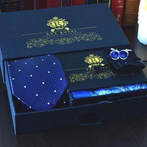Luxusný pánsky darčekový set kravata vreckovka do saka manžetové gombíky swarovski