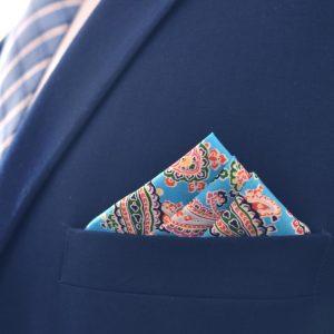 Jarná elegantná pánska náprsná modro červená pasiely náprsná vreckovka do saka