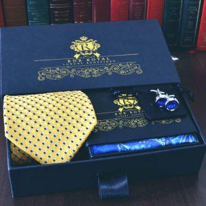 pánsky žlto modrý luxusný žiarivý hodvábny set a manžetové gombíky swarovski