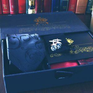 hodvábny pánsky luxusný darčekový čierny paisley set