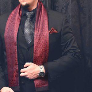 pánsky formálny hodvábny červený floral šál do obleku