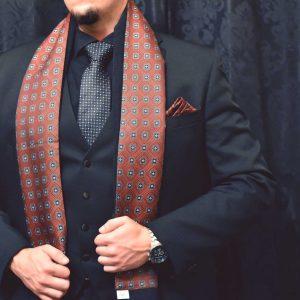 Červený vínový burgundy pánsky hodvábny šál do saka, obleku alebo kabátu