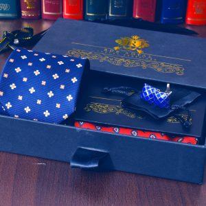 foulard modrá kravata kvetinový pánsky darčekový set