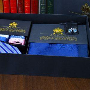 Grand Royal pánsky hodvábny modro ružový set