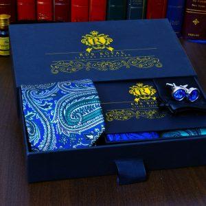 modry zeleny pansky darcekovy set s vreckovoku do saka gombíky Swarovski