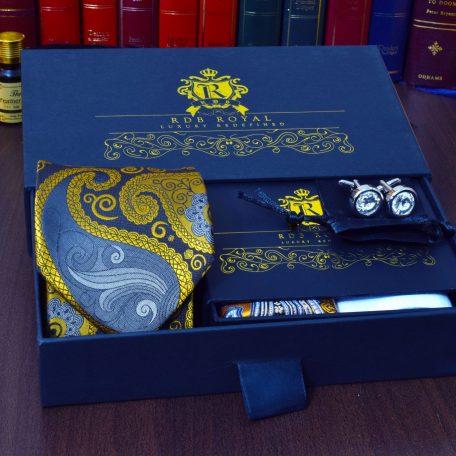 zlatý paisley hodvábny pánsky darčekový set s gombíkmi swarovski