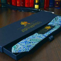 modro zelena hodvabna kravata paisley