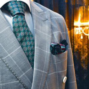 luxusná hodvábna zelená kravata foulard s vlnenou podšívkou