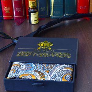 hodvábna vreckovka do saka zlatá paisley